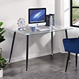 <span class='highlight'><span class='highlight'>GOLDFAN</span></span> Modern Glass Computer Desk Table on Workstation Office Home Utility Study Writing Desk 113x70x75cm, Black
