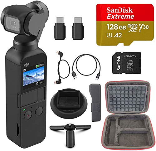 Osmo Pocket Handheld 3 Axis 4k Gimbal Stabilizer with Integrated Camera, Must-Have Bundle, with Free 64GB Extreme MicroSD Card, Adapter and Backpack Clamp, Base and More