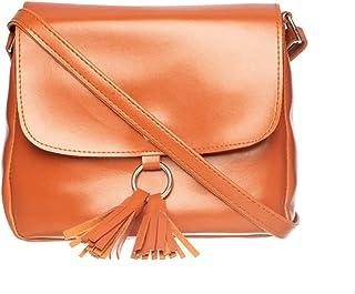 Khadim's Tan Synthetic Leather Decorative Casual Crossbody Bag for Women