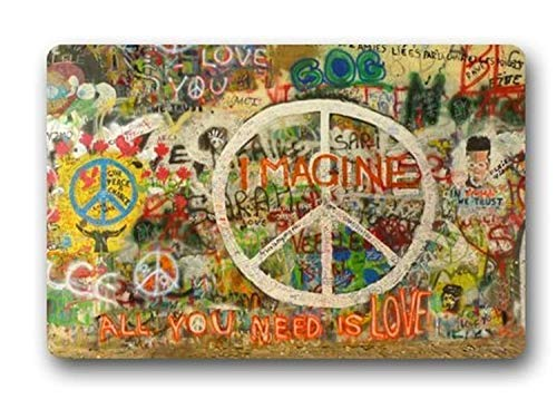 Hi,Doormat Non-Slip Rectangle Peace Sign Graffiti All You Need is Love Design Indoor and Outdoor Entrance Floor Mat Gate Pad Cover Doormat - 23.6 X 15.7 Inch
