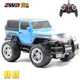 CISAY Rc Cars,6061 Remote Control Car,1/18 Scale 15km/h,2.4Ghz 2WD Convertible Buggy,with Car Light and 2 Rechargeable Batteries,Give The Child Best The Gift (Blue)