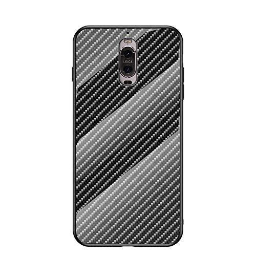 MadBee Funda para Huawei Mate 9 Pro [con Protector de Pantalla],9H Cristal Templado [Patrón de Fibra] [Resistente a los Arañazos] + Borde de TPU Silicona Suave Fundas Case Cover (Negro)