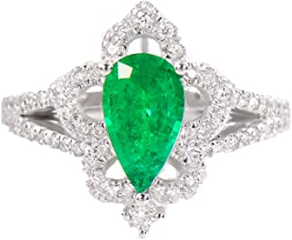0.9 Carat Natural Pear Emerald Ring for Women with Diamond, Wedding Engagement Jewelry,19(19.0mm)