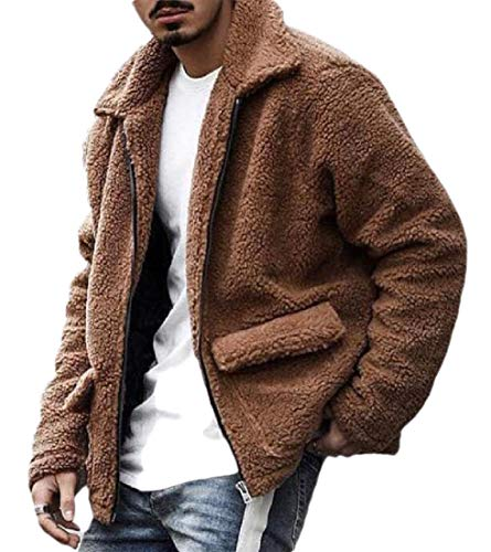 GenericC Men's Fuzzy Sherpa Hoodie Lightweight Solid Color Jacket Open Front Cardigans Coat with Pockets Camel S