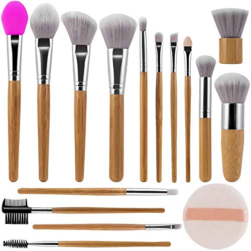 Makeup Brushes Set DUAIU 15Pcs Bamboo Handle Makeup Brushes Premium Synthetic Soft Artificial Wool Bristle Foundation Concealer Eyeshadow Lip Eyebrow Face Brushes Set With Makeup Puff