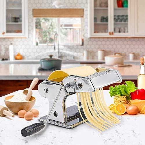 Homemade Pasta Maker Stainless steel Silver Noodle-Maker Fettuccine Cutter Includes Cutter, Hand Cranker Machine for Spaghetti Noodle Fettuccine Dumpling Maker