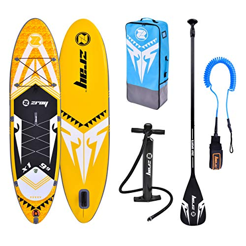 ZRAY SUP X-Rider 9'9 - Stand Up Paddle Gonflable - Charge Max 100 Kg - 297 x 76 x 15 cm - Dropstitch Simple Couche - Unisexe - Jaune