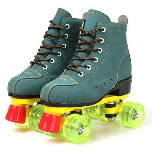 2020 Rindsleder Mädchen Frauen Erwachsene Kinder Rollschuhe Skating Schuhe Sliding Inline Sneakers 4 Rollen 2 Reihen Linie Outdoor Geschenke für Frauen 40 Grün