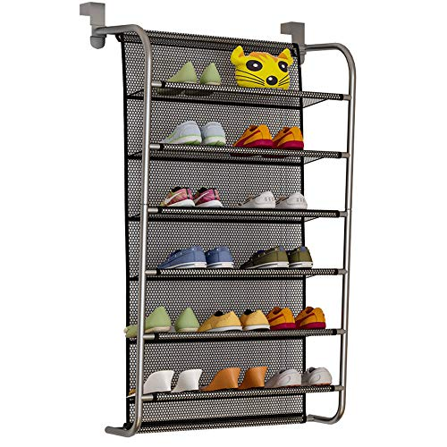 IBEQUEM Over The Door Shoe Rack for Hanging Shoes Holder 6-Tier Shoes Organzier Storage Stand Hanging Metal Shoe Shelf with Hooks for Closet Pantry EntrywayBlack