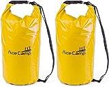 AceCamp 2 x wasserdichter Packsack Daypack schwimmfähig mit Tragegurt 55 x 24 cm, 20 Liter, Doppelpack Gelb, 24612
