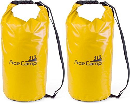 AceCamp 2 x wasserdichter Packsack Daypack schwimmfähig mit Tragegurt 47 x 21 cm, 10 Liter, Doppelpack Gelb, 24602