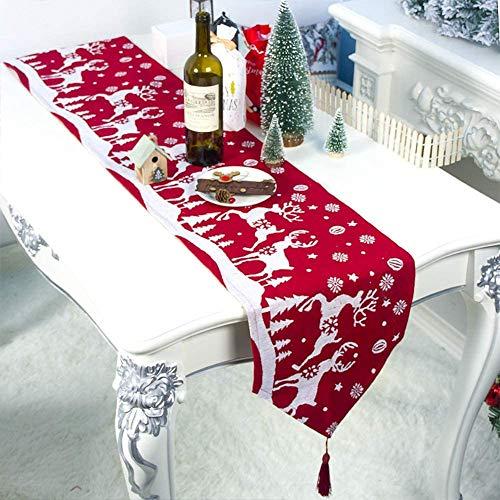 zachking Camino de mesa de Navidad Decoración de mesa de Navidad Ropa de mesa para el hogar Mantel decorativo de algodón y lino clásico de mesa de comedor fiesta decoración de vacaciones
