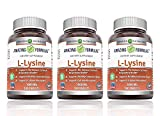 Amazing Nutrition Amazing Formulas L-Lysine - 1000mg Amino Acid Vitamin Tablets - Commonly Used for Cold Sores, Shingles, Immune Support, Respiratory Health & More - 180 Vegetarian Tablets (3 Pack)