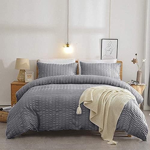TanNicoor Seersucker - Juego de funda de edredón para cama individual, color gris oscuro, suave, con cierre de cremallera, 2 piezas (1 funda de edredón y 1 funda de almohada) de 135 x 200 cm