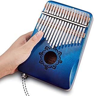 Byla Kalimba 17 Keys Electric Solid Wood Mahogany Portable Thumb piano Finger piano Gradient Blue Mbira Calimba Marimba Musical Instruments for Kids,Adults and Beginners