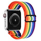 VISOOM Stretchy Band Compatible with Apple Watch band 38mm 40mm 42mm 44mm-Apple Watch Strap for iWatch Series 6/SE/5/4/3/2/1 Accessories Elastics Sports Replacement for Men Women (Rainbow, 42mm/44mm)