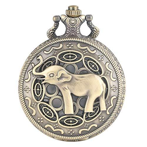KJFB - Reloj de bolsillo con diseño de elefante en 3D, diseño de nariz larga, estilo retro, bronce hueco, reloj de bolsillo, reloj de bolsillo para hombres, mujeres y niños (color bronce)