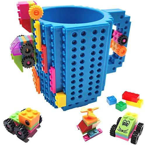 HUISEHNG Build on Brick Tasse, Building Mug Becher, Ostern Vatertag Geburtstag Einschulung Weihnachtengeschenk Idee, Geschenk für Männer Frauen Ihn Kinder Papa Junge, Kompatibel für Lego (Blau)