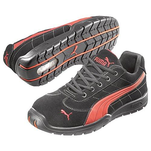 Puma Safety Shoes Silverstone Low S1P HRO SRC, Puma 642630-210-38 Herren Sicherheitsschuhe, Schwarz (schwarz/rot 210), EU 38