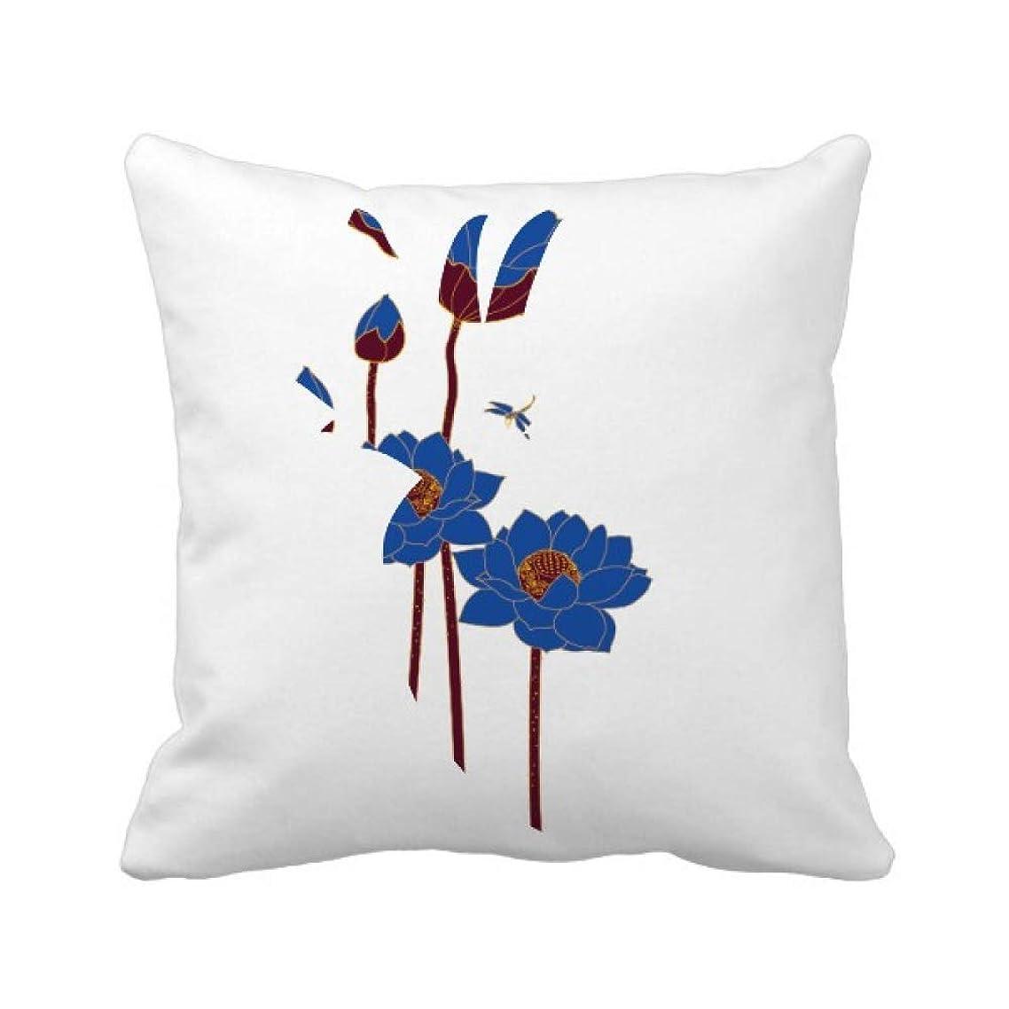 学者近傍異議青い蓮の葉の植物ハスの花のトンボ パイナップル枕カバー正方形を投げる 50cm x 50cm