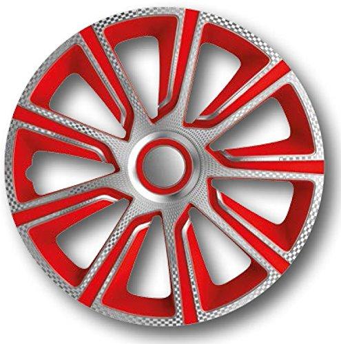 Autostyle Radzierblenden Radkappen Radabdeckung #VERON Carbon/Silber/Rot (15'')