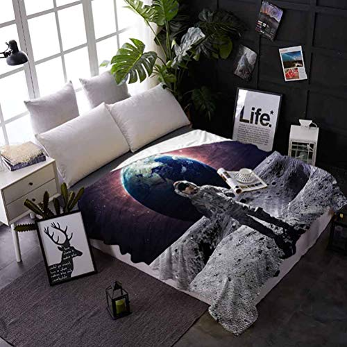 shirlyhome Bed Blanket Space Air Conditioner Blanket Brace Astronaut Cosmos Best Gift for Women, Men, Kid, Teen 70x93 Inch