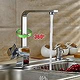 Auralum 360°Rubinetto di lavabo con canna alta flessibile orientabile a cascata rubinetto miscelatore monocomando Lavello lavandino rubinetto,per bagno o cucina