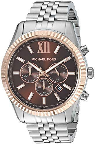 Michael Kors Men's Lexington Quartz Watch with Stainless Steel Strap, Silver, 22 (Model: MK8732)
