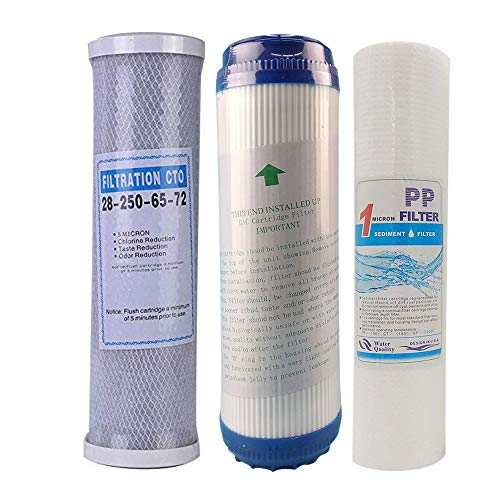 3 Levels Replacement Water Filter Reverse Osmosis Pure Water RO Purifier Filter Element Sets 5 /1micron PPF +UDF/GAC+CTO Water Filter Granular Activated Carbon Compressed Activated Carbon