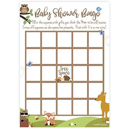 Woodland Animals Baby Shower Bingo Game Cards (50 Count)