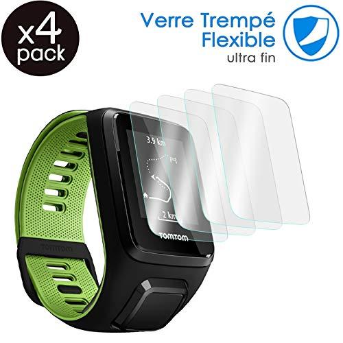 KARYLAX [Pack x4] Protector de pantalla para reloj inteligente película de vidrio Nano flexible irrompible Dureza 9H, Ultra fino 0,2 mm y 100% transparente para Tomtom Spark Cardio