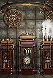 YongFoto 1,5mx2,2m Vinyle Photographie Toile de Fond Antique Ancien Horloge en métal Steampunk Gear Fond de Studio Photo vidéo Photo Shooting Accessoires