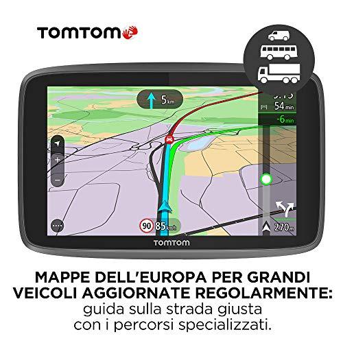 TomTom GO Professional 6250 Navigatore Satellitare per Camion, Autobus, Furgone, con Limitazioni di Altezza e Peso, Aggiornamenti tramite WiFi, Scheda SIM Connessa, Mappa d'Europa, Nero, 6