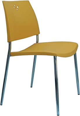 Stylish Plastic Chair Yellow Parlor Chair Minimalist Design Chair, Suitable for Office Family Outdoor. Home Décor