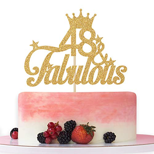 48 & Fabulous Cake Topper – Cheers to 48 years,48th Birthday Cake Decorating - Happy 48th Anniversary/Birthday Party Decoration Supplies Gold Glitter.