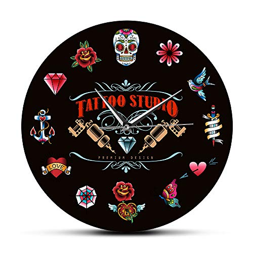 Reloj de Pared Tattoo Studio Premium Design Black Reloj de Pared Moderno sin tictac Estilo Vintage Hipster Men Salon Studio Tattooist Artist Gift Office Home Decor Gift