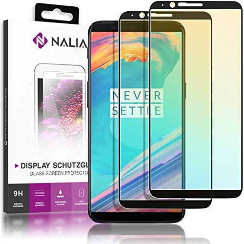 NALIA (2 Pezzi) Vetro Temperato compatibile con OnePlus 5T, 9H Pellicola Protettiva Schermo Display Copertura, Smart-Phone Tempered-Glass Telefono Protezione Screen-Protector - Trasparente (Nero)