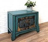 Aparador cómoda consola cajonera chiffonier, armario gabinete guardarropa, estilo asiático, oriental, chino, vintage, shabby chic rústico, color azul