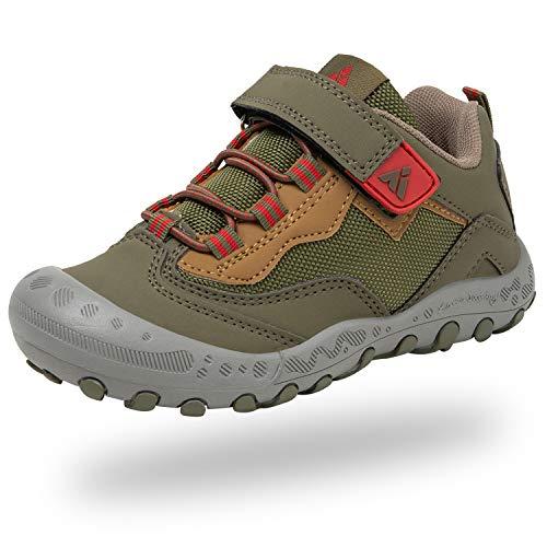 Mishansha Niños Zapatillas Senderismo para Montaña Trekking Trail Ligero Zapatos para Caminar Niña Velcro Calzado Correr Infantil Antideslizante Bambas Chicos(267 Verde, 30 EU)