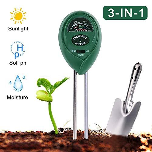 PECHTY Bodentester, 3 in 1Boden Feuchtigkeit Meter, Boden pH Feuchte Pflanze Tester, pH Bodentest für Garten, Bauernhof, Rasen, Kein Batterien Erforderlich (Nur für Boden) (26 * 6 * 3.8cm)