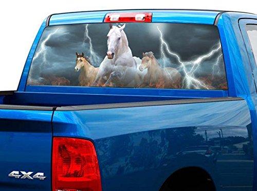 P419 Horse Lightning Tint Rear Window Decal Wrap Graphic Perforated See Through Universal Size 65' x 17' FITS: Pickup Trucks F150 F250 Silverado Sierra Ram Tundra Ranger Colorado Tacoma 1500 2500
