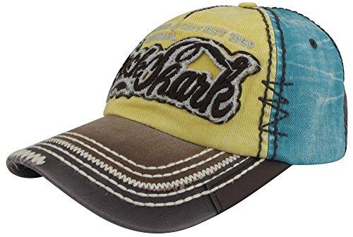 MINAKOLIFE Hombre Rock Tiburón Afligido Vendimia Algodón Bordado Béisbol Gorra Snapback Camionero Sombrero (amarillo)