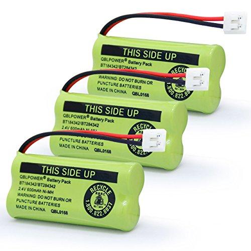 QBLPOWER BT-1018 BT184342/BT284342 BT8001 BT8000 BT8300 BT184342 BT284342 89-1335-00 89-1344-01 BATT-6010 CPH-515D Cordless Phone Battery 2.4V 600mAh NiMh (3 Pack)