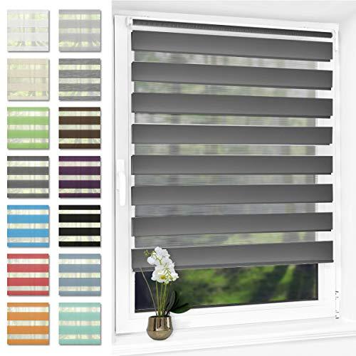 Doppelrollo klemmfix ohne Bohren Duo Rollo für Fenster,lichtdurchlässig und verdunkelnd Wandmontage Sichtschutz, 60 x 120 cm(BxH) Anthrazit