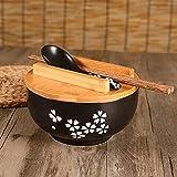 Piatti Piatti per pane e contorni Ciotola per spaghetti di riso con coperchio Cucchiaio e bacchette Stoviglie da cucina Ciotola per zuppa di insalata in ceramica Contenitore per alimenti Stoviglie