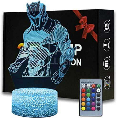 3D ilusión Battle Royale Omega Luz de noche, lámpara de mesa con control remoto para dormitorio, lámpara de escritorio creativa para cumpleaños (MY112-Omega)