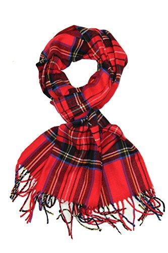 Achillea Classic Plaid Check Cashmere Feel Winter Scarf (Red Tartan)