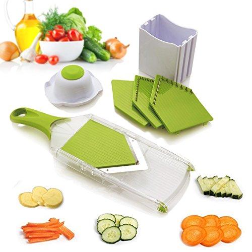 Uten Gemüsehobel, Spiralschneider, leicht zu reinigen, Küchenwerkzeug für Kartoffeln, Karotten, Gurken, ABS, Grün, 1 kg