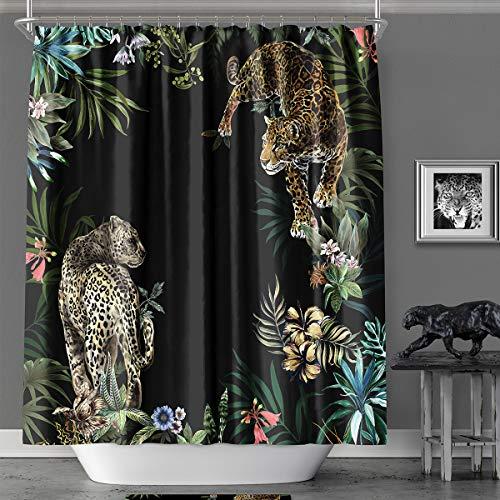 MACOFE Animal Print Leopard Shower Curtain Set,Hooks Included,Tropical Safari Black Fabric Bathroom Shower Curtain 72x72 Inch