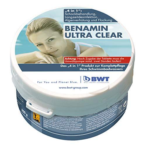 BWT Poolreiniger Benamin Ultra Clear | Effektive Pool-Reinigung für keimfreies Wasser und Langzeitdesinfektion | Vorteils-Set | 5x 500 g Dose